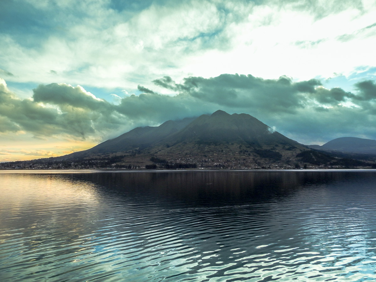 Otavalo mountain lake during sunset